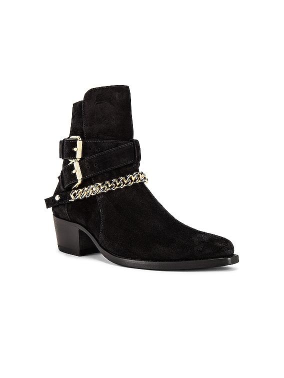 Suede Jodhpur Chain Boot in Black