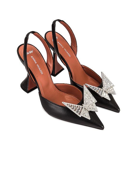 x AWGE Phoenix Sling Heel in Black & Crystal