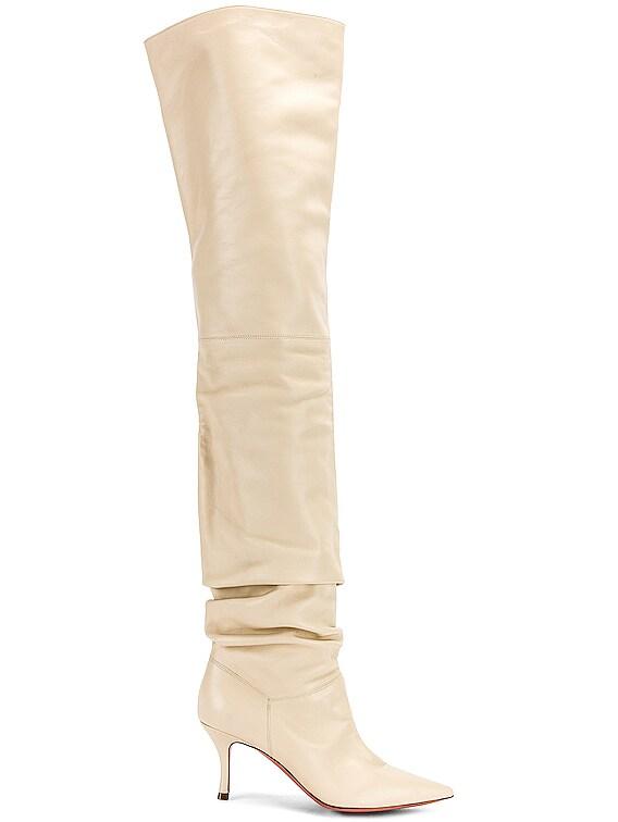 Barbara 70 Boot in Ivory Nappa