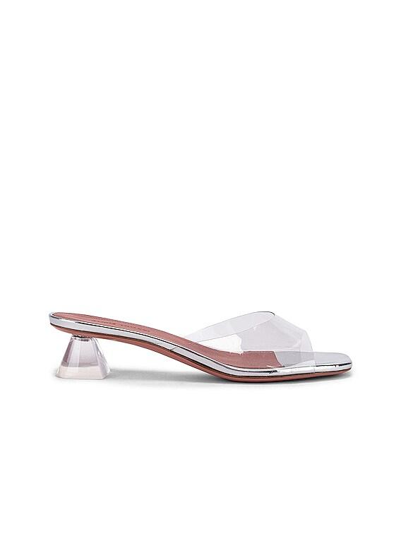 Lupita 40 Plexi Sandal in Transparent & Silver Mirror