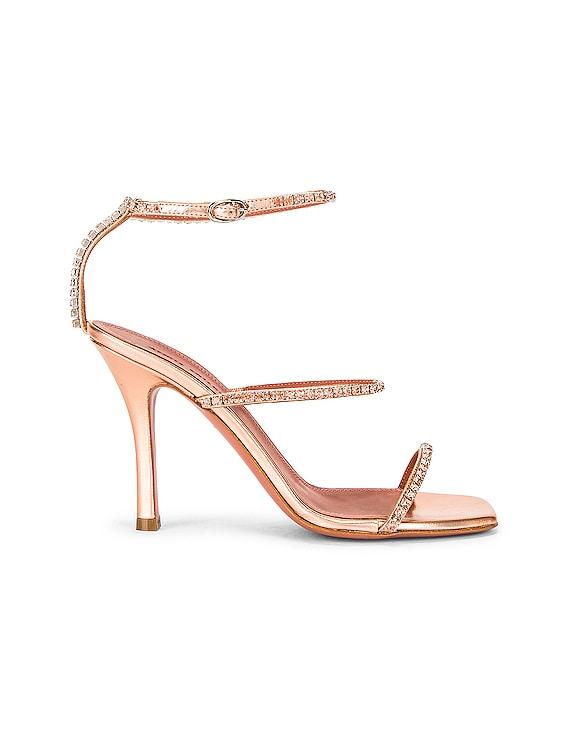 Gilda Hologram Leather Sandal in Peach