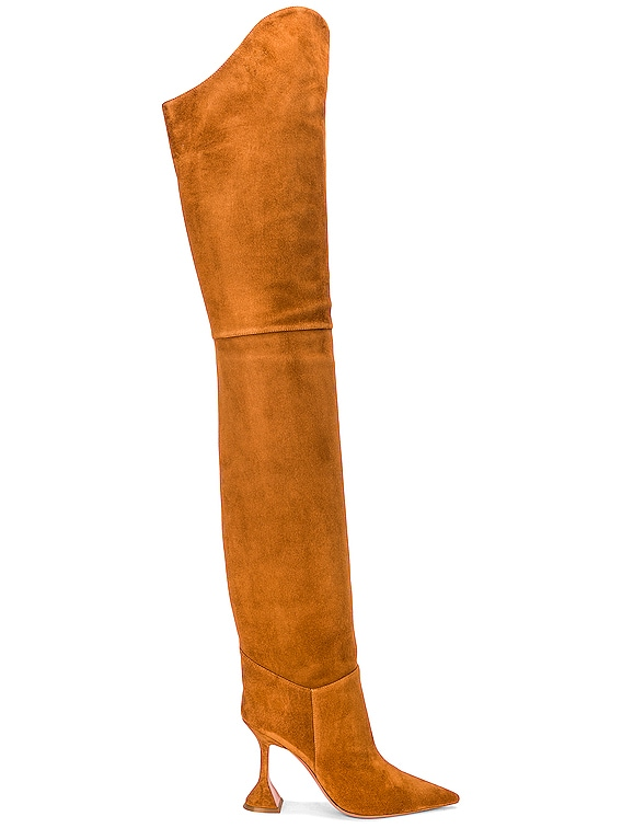 Iman Thigh High Suede Boot in Camel
