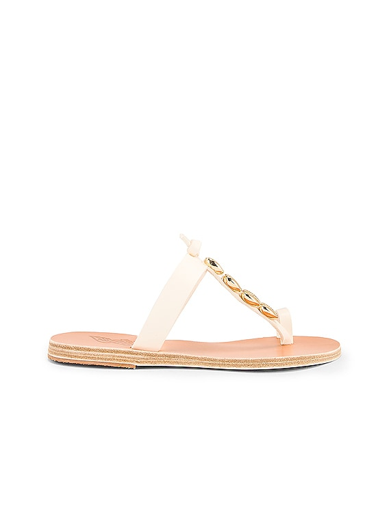 Iris Gold Shells Sandals in Off White