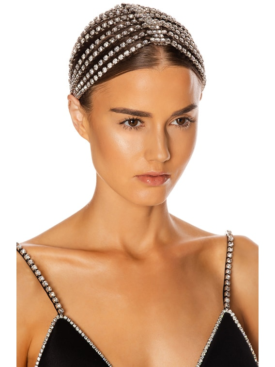 Crystal Cupchain Hairpiece in Silver Brass & Clear Crystal