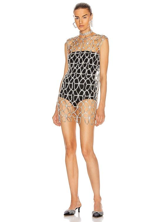 Crystal Butterfly Net Dress in Clear & Silver