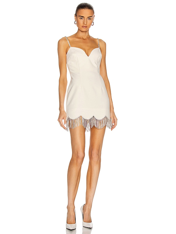 Crystal Scallop Fringe Sweetheart Dress in Ivory & Clear