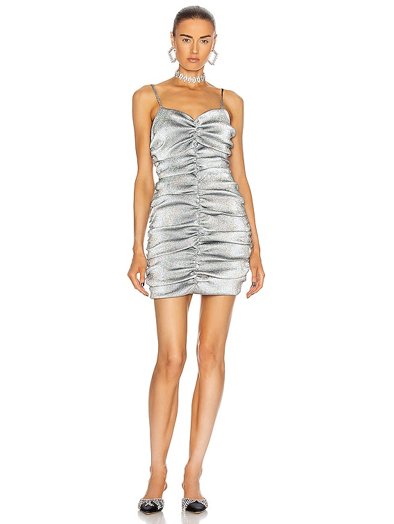 Ruched Mini Dress in Silver Hologram