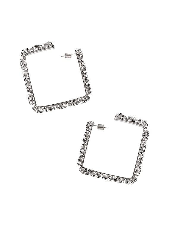 Medium Square Hoop Blanket Stitch Earrings in Clear & Silver