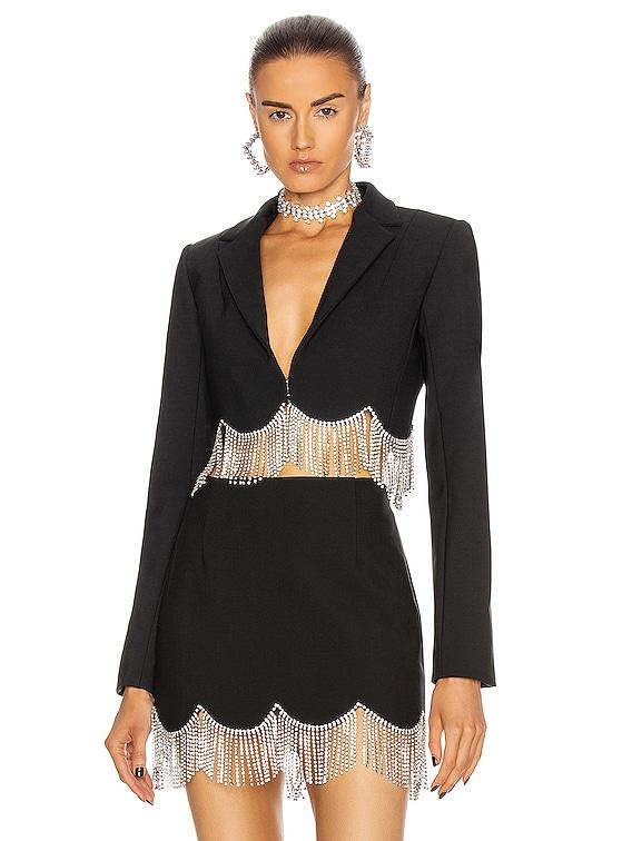Scalloped Crystal Hem Cropped Blazer in Black & Clear