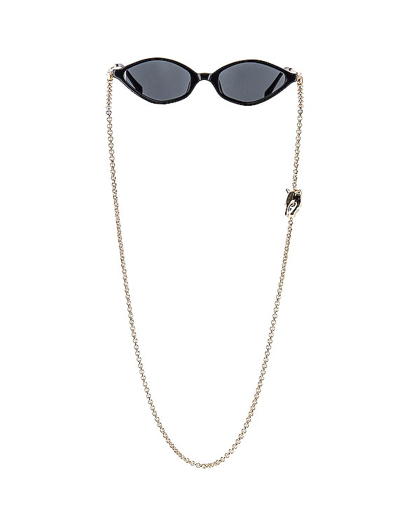 Small Cateye Sunglasses in Black, Yellow Gold & Grey