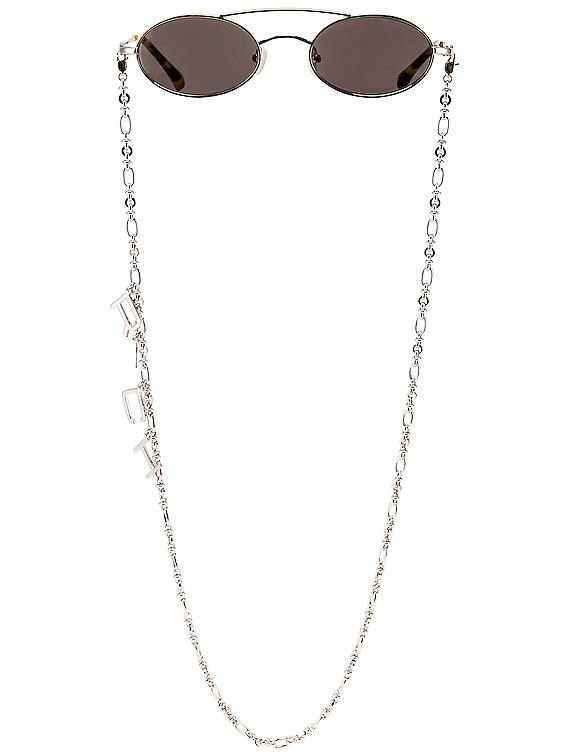 Small Oval Sunglasses in Silver & Grey