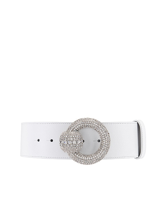 Circle Crystal Buckle Belt in White
