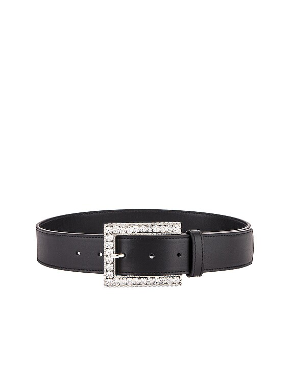 Rectangular Crystal Buckle Belt in Black