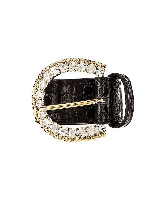 Leather Crystal Buckle Belt in Black