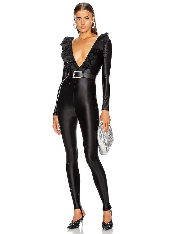 Ruffle Crystal Jumpsuit in Black