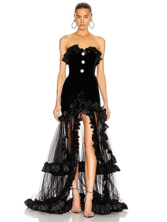 Strapless Velvet Gown With Ruffle Hem in Black