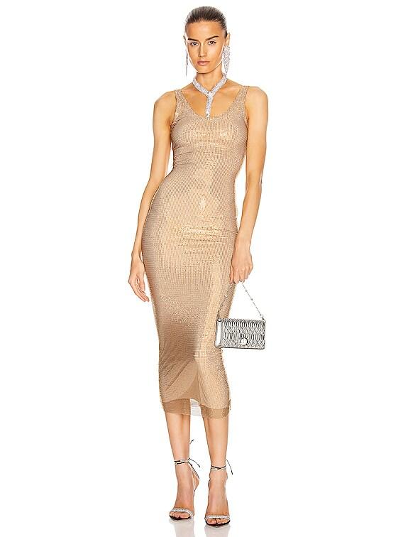 Crystal Net Dress in Gold