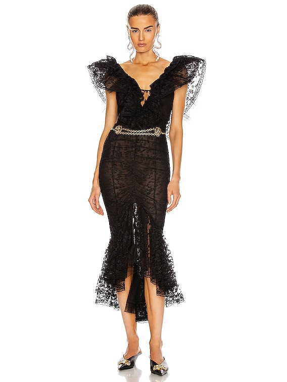 Lace V Neck Dress with Volants in Black
