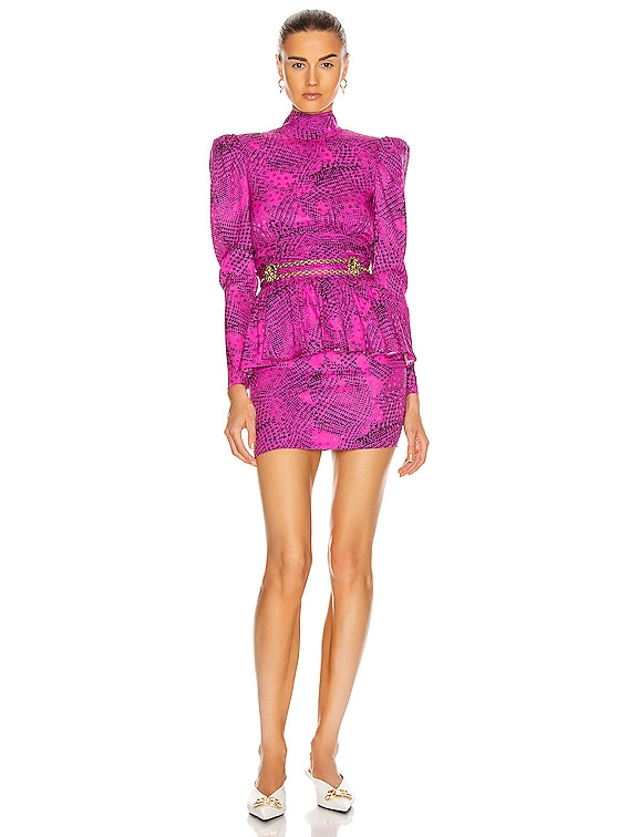 Prince of Wales Silk Open Back Mini Dress in Fuchsia