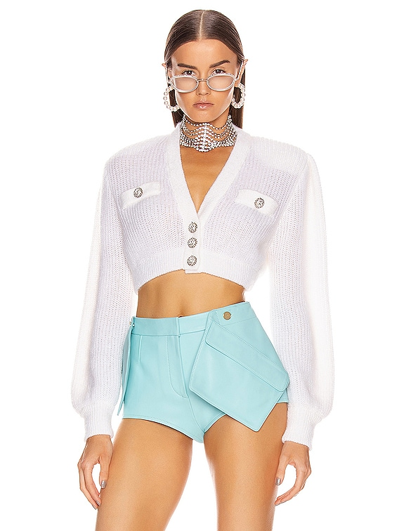 Wool Crystal Button Crop Cardigan in White