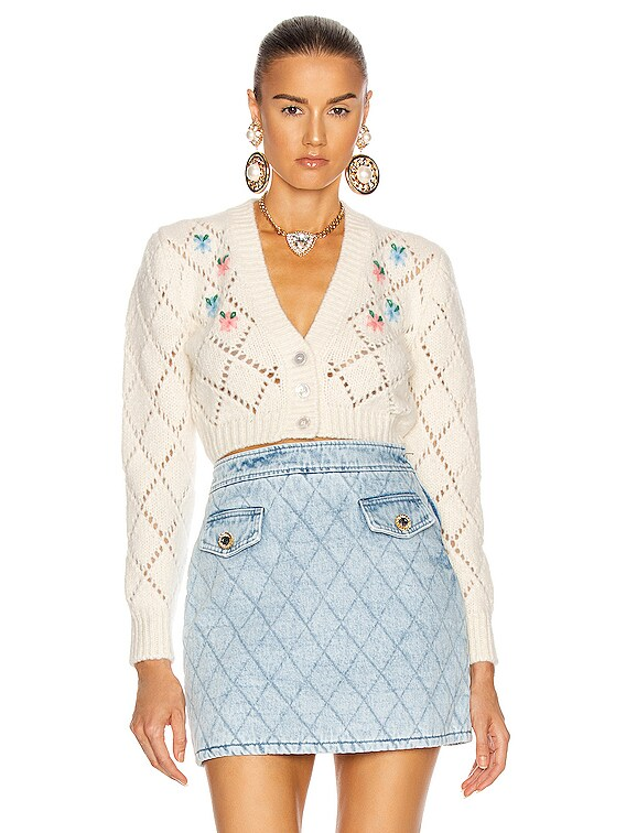 Wool Cardigan with Floral Details in White