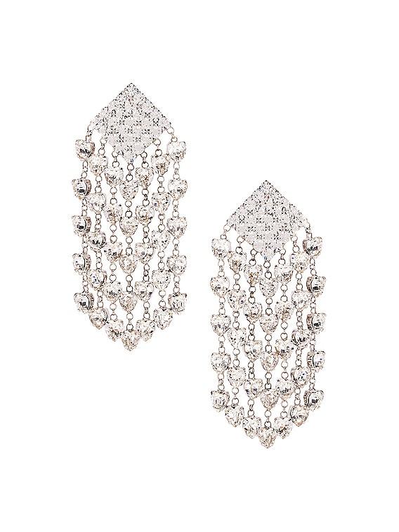 Heart Cascade Clip Earrings in Crystal