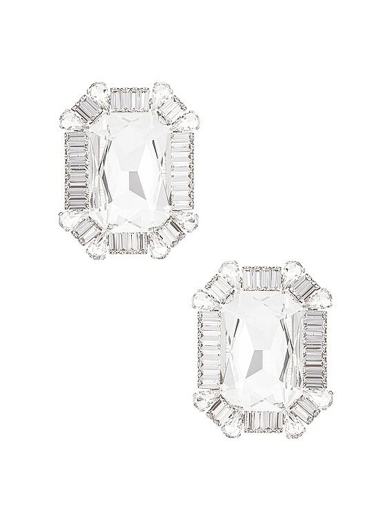 Square Crystal Clip Earrings in Crystal