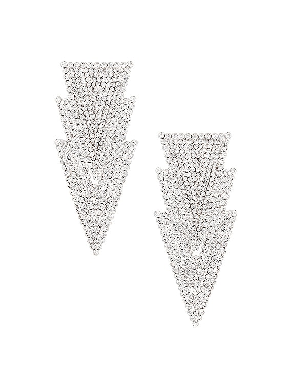 Three Triangle Earrings in Crystal