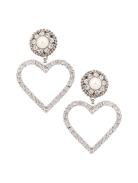 Crystal Heart Earrings with Pearl Clip in Silver