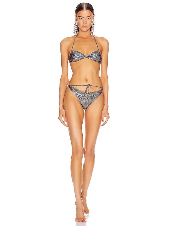 Laminated Print Bikini Set in Black