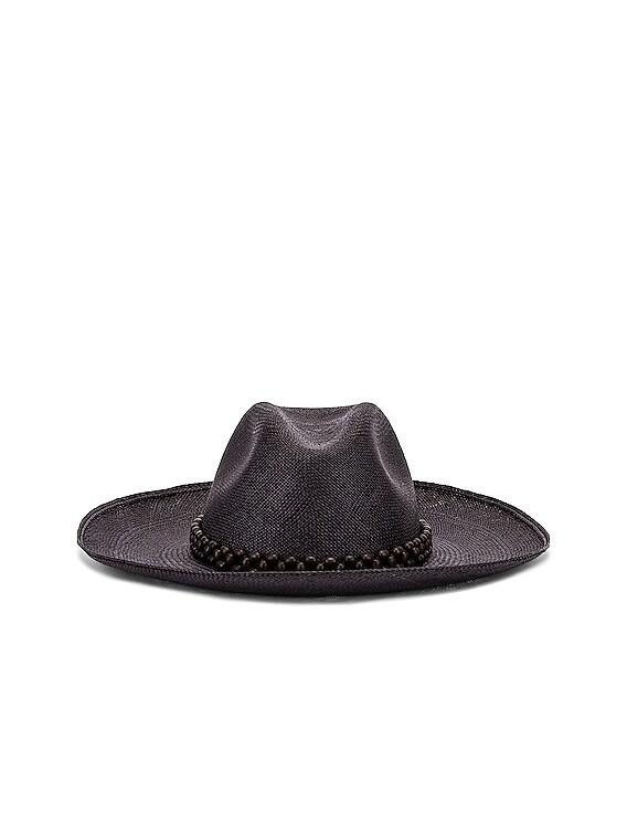 Peoni Beaded Hat in Black