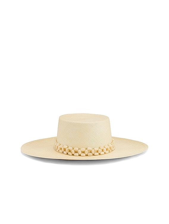 Tulipan Beaded Hat in Natural