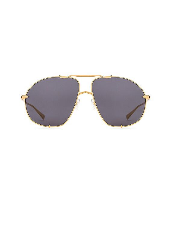 Mina Aviator Sunglasses in Yellow Gold & Grey