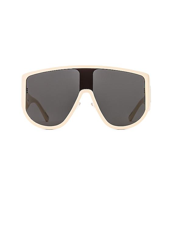 Iman Shield Sunglasses in Cream & Yellow Gold
