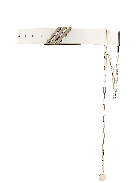 Idra Belt with Siler Pendant Chain in White