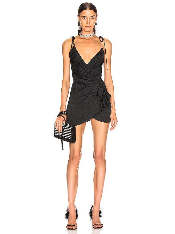 Zebra Jacquard Mini Slip Dress in Black