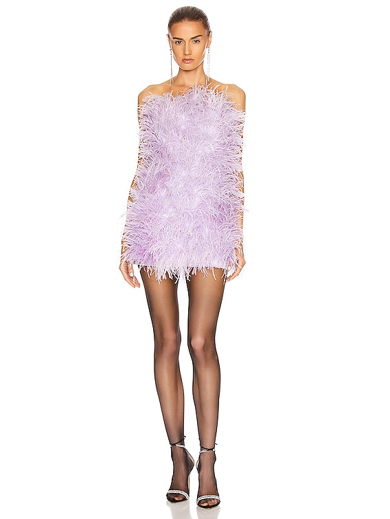 Ostrich Embroidered Strapless Mini Dress in Lilac