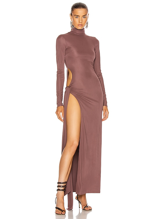 Long Sleeve Ruched Midi Dress in Brown