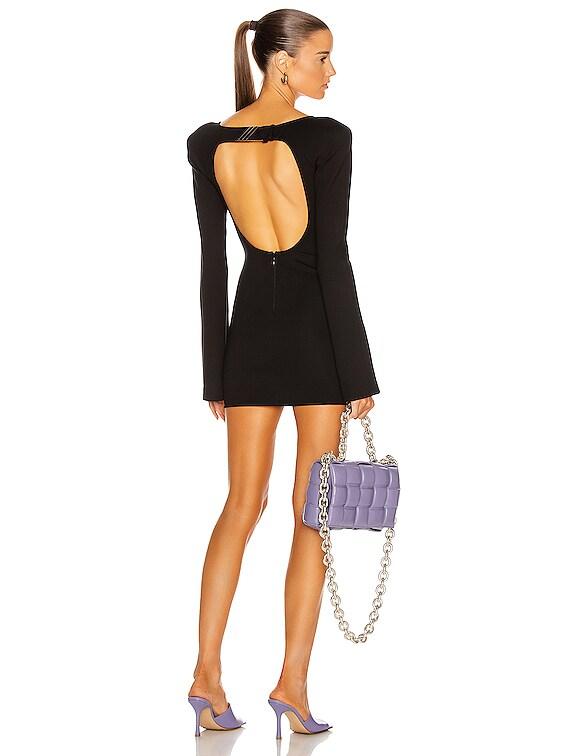 Open Back Mini Dress in Black