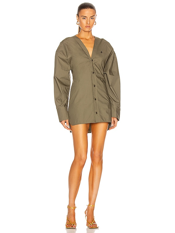 Button Down Mini Shirt Dress in Ivy Green
