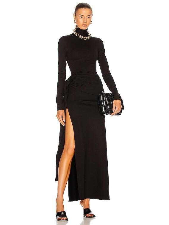 Mock Neck Ruched Maxi Dress in Black