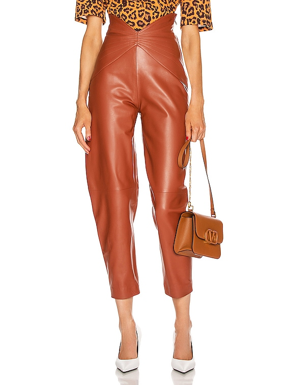 Leather Butterfly Carrot Pant in Cognac
