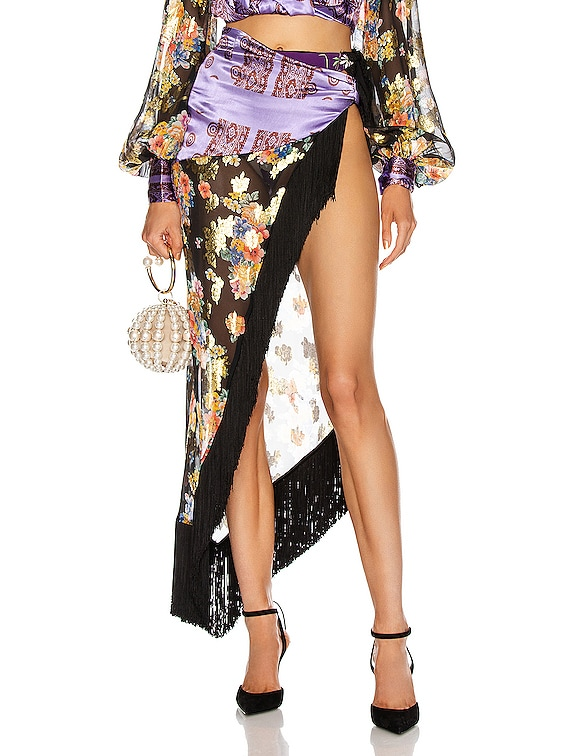 Gipsy Bouquet Wrap Skirt in Black & Gold
