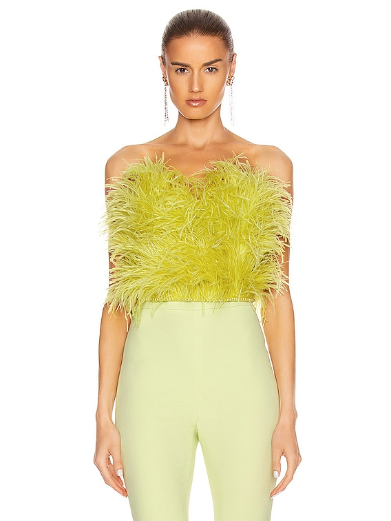 Ostrich Feather Strapless Top in Lime