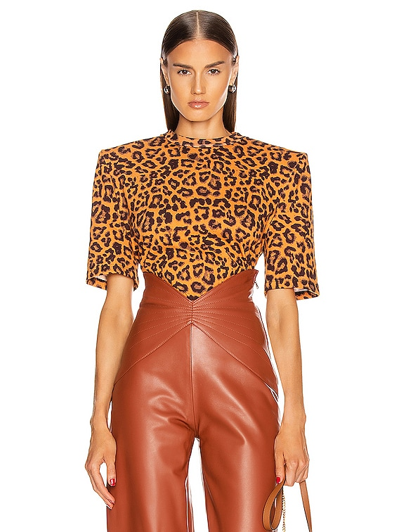 Embroidered T-Shirt in Leopard