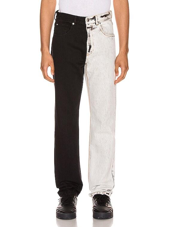 Bicolor Denim Trouser in Acid White