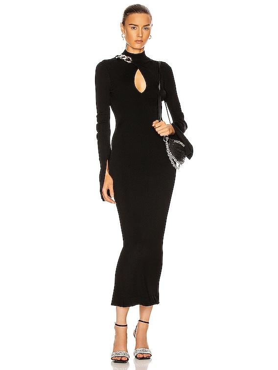 Chain Turtleneck Midi Dress in Black