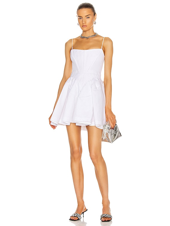 Fit and Flare Corset Mini Dress in White