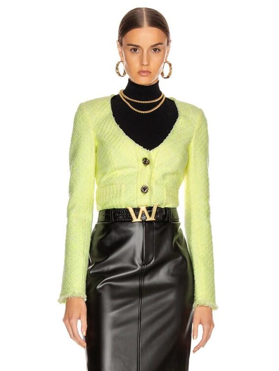 Bias Tweed Cardigan Jacket in Highlighter