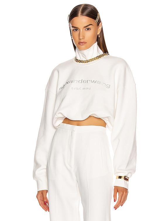Cropped Mock Neck Sweatshirt in White